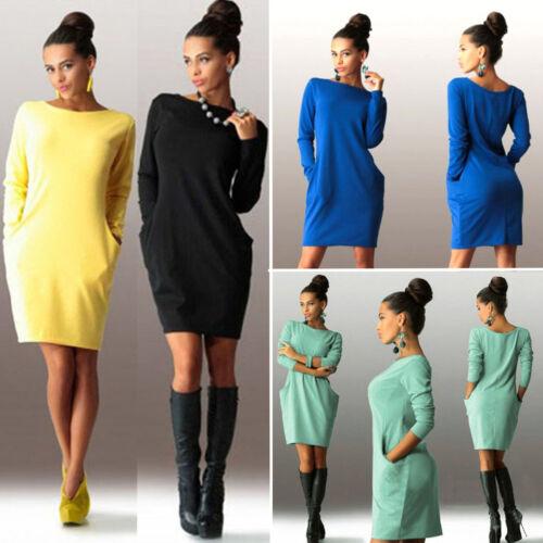 Damen Langarm Minikleid Tunika Etuikleid Pullover Sweatshirt Kleid Partykleid