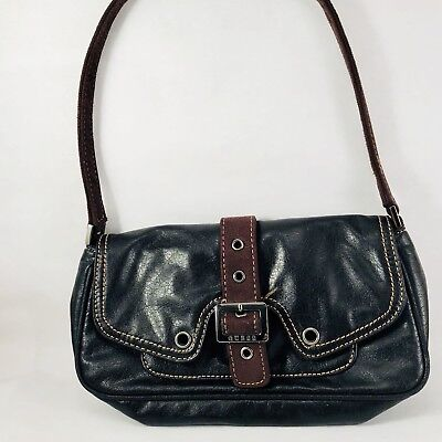 """Guess Black Purse Handbag Leather Satchel With Buckle Strap 9"""" X 5"""""""