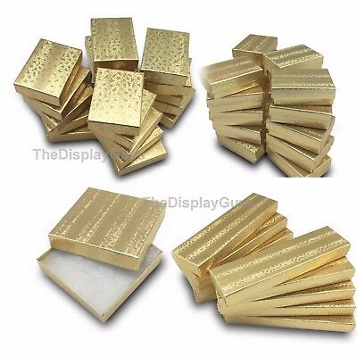 50 pcs Gold Foil Cotton Filled Jewelry Gift Boxes With Variety Of