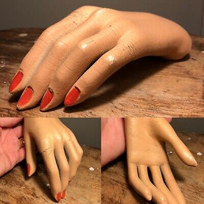1940s Jewelry Styles and History Antique Vtg 1940s 1950s Womens Mannequin Hand Ring Bracelet Store Display Old  $35.00 AT vintagedancer.com