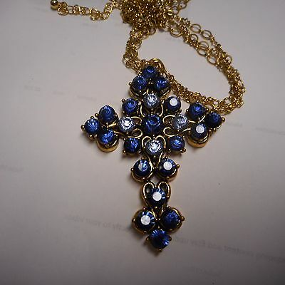 BEAUTIFUL CROSS NECKLACE BLUE CRYSTALS VERY NICE 2 3/4 INCH CROSS 3 STRAND CHAIN