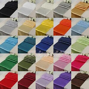 10-20PCS-12-x108-30x275cm-Satin-Table-Runner-Wedding-Party-Decorations-Colors