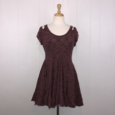 Free People Beach Women's Fit Flare Knit Dress Burgundy Size Small
