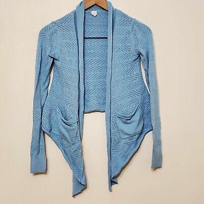 Ivivva Girls Blue Open Knit Open Front Waterfall Cardigan, sz 10