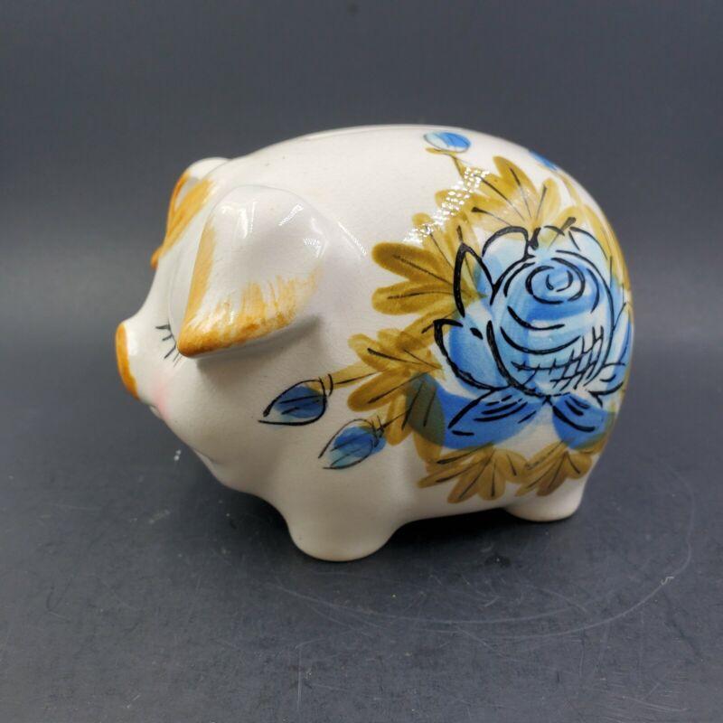 Vintage Hand Painted Sleeping Pig Piggy Bank Made In Japan #2987
