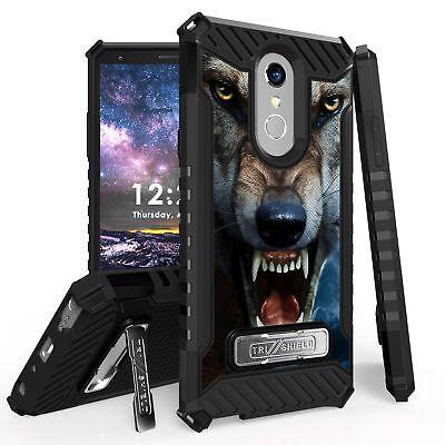 For LG Stylo 4 ,4+ Q710 Tri Shield Hybrid Kickstand Case Wild Wolf - Wolf Fangs