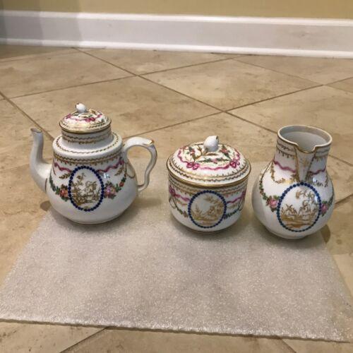Antique Samson Oriental/ Chinoiserie Gilt Hand Painted Porcelain Partial Tea Set
