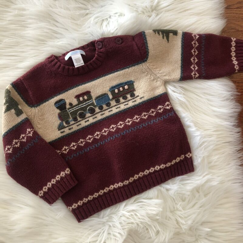 Janie and Jack Train Sweater Holiday Trees Size 18-24 Months