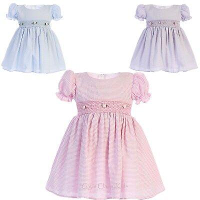 Flower Girls Cotton Seersucker Dress Baby Toddler Kids Wedding Easter Party New - Cotton Flower Girl Dresses
