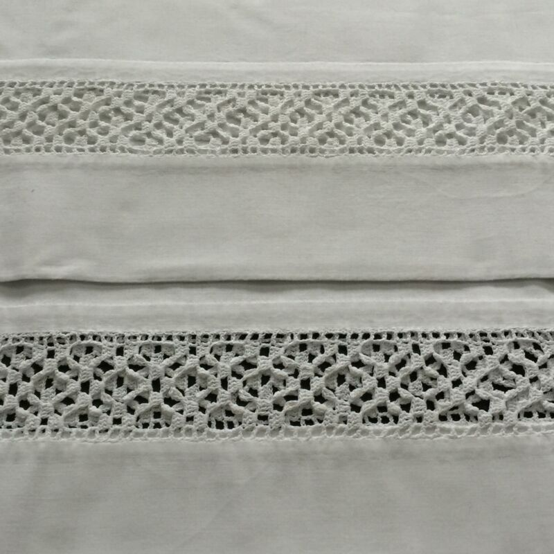 Pair of Antique WHITE ON WHITE Cotton Pillowcases w/wide CROCHET LACE INSERT