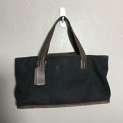 Coach Black Canvas Twill Hand Bag 6137 Leather Trim Purse