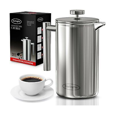 French Press Double-Wall Stainless Steel Mirror Finish  Coff