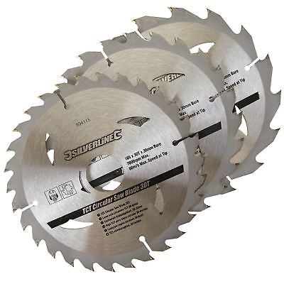 3 Circular Saw Blades 165mm Diameter 30mm Bore 10 20 16mm Bushes Mitre 6 12
