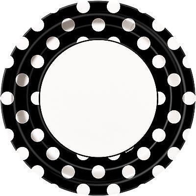 Black & White Polka Dot 23cm Paper Party | Dinner Plates (Black And White Polka Dot Dinner Plates)