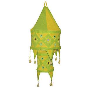 indischer lampenschirm gelb gr n 60 cm baumwolle dekolampe orient h ngelampe ebay. Black Bedroom Furniture Sets. Home Design Ideas