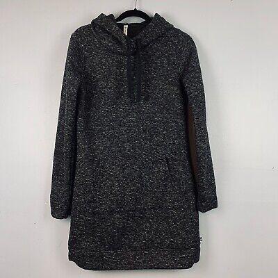 Fabletics Sz Medium Yukon Gray Hooded Front Pocket Athleisure Sweatshirt Dress