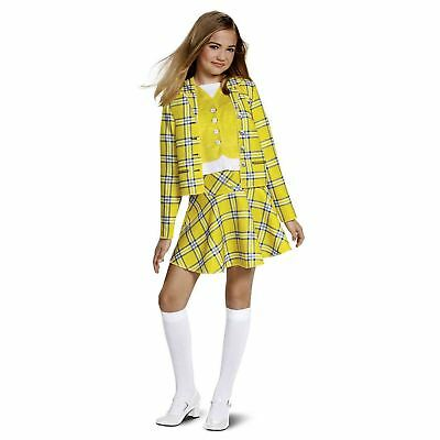 Teen Girl Halloween (Teen Girl Child Cher Clueless Yellow Plaid Skirt Jacket Halloween Costume M L)