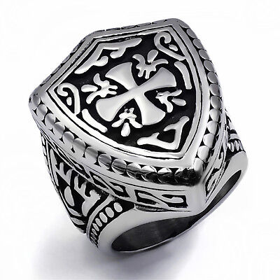 Mens Boys Silver Warrior Shield Cross 316L Stainless Steel Ring Fashion Jewelry Mens Cross Ring