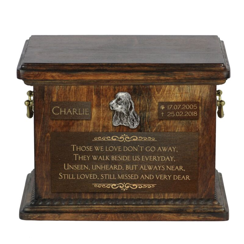 Clumber Spaniel - Urn for dog's ashes with relief and sentence Art Dog USA