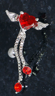 1 pc angel winged heart shape red c.z. w/chain prong set c.z. dangle belly ring Chain Set Belly Button Ring
