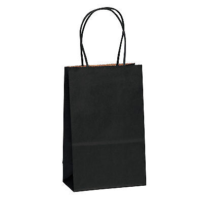 5.25 X3.25 X8 Black Kraft Paper Bags Shopping Merchandise Party Gift Bags