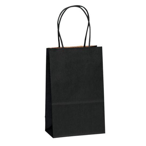 "5.25"" x3.25"" x8"" Black Kraft Paper Bags Shopping Merchandise Party Gift Bags"