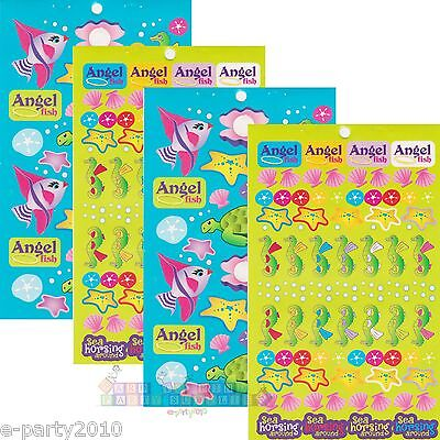 (4 sheets) UNDER THE SEA STICKERS ~ Birthday Party Supplies FAVORS SEAHORSE FISH - Under The Sea Birthday Party Supplies
