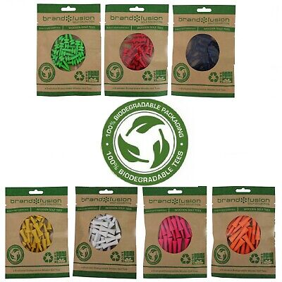 WOODEN CASTLE Graduated Golf Tees - All Sizes/Colours BIODEGRADABLE PLASTIC FREE
