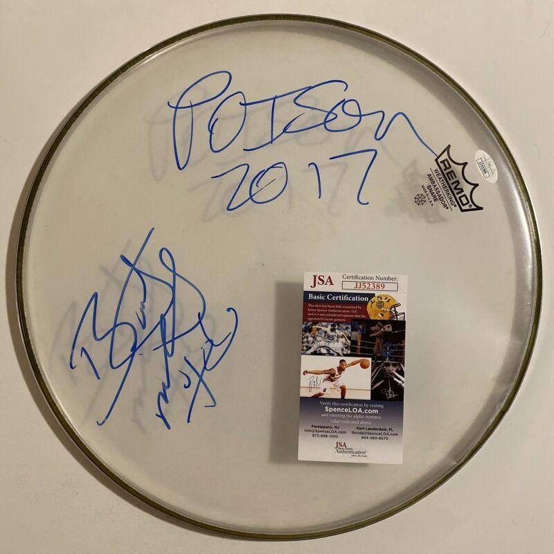Bret Michaels Signed Autographed Drumhead Poison JSA COA
