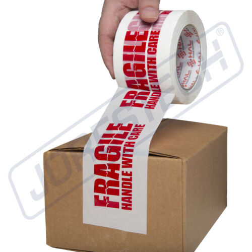 """3"""" FRAGILE HANDLE WITH CARE Box Sealing Packing Tape 110 yards 2 Mil - 1 Roll"""