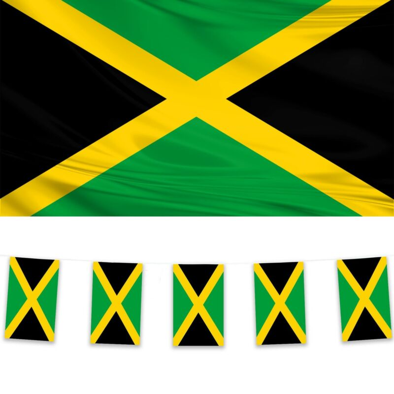 Jamaica Flag & Bunting Pack Polyester 5x3 Flag 10m Bunting Caribbean Carnival