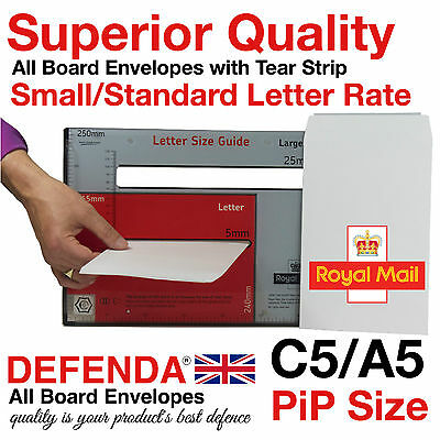 1200 C5 A5 STRONG White All Board ROYAL MAIL PIP Postal Envelopes 164mm x 239mm