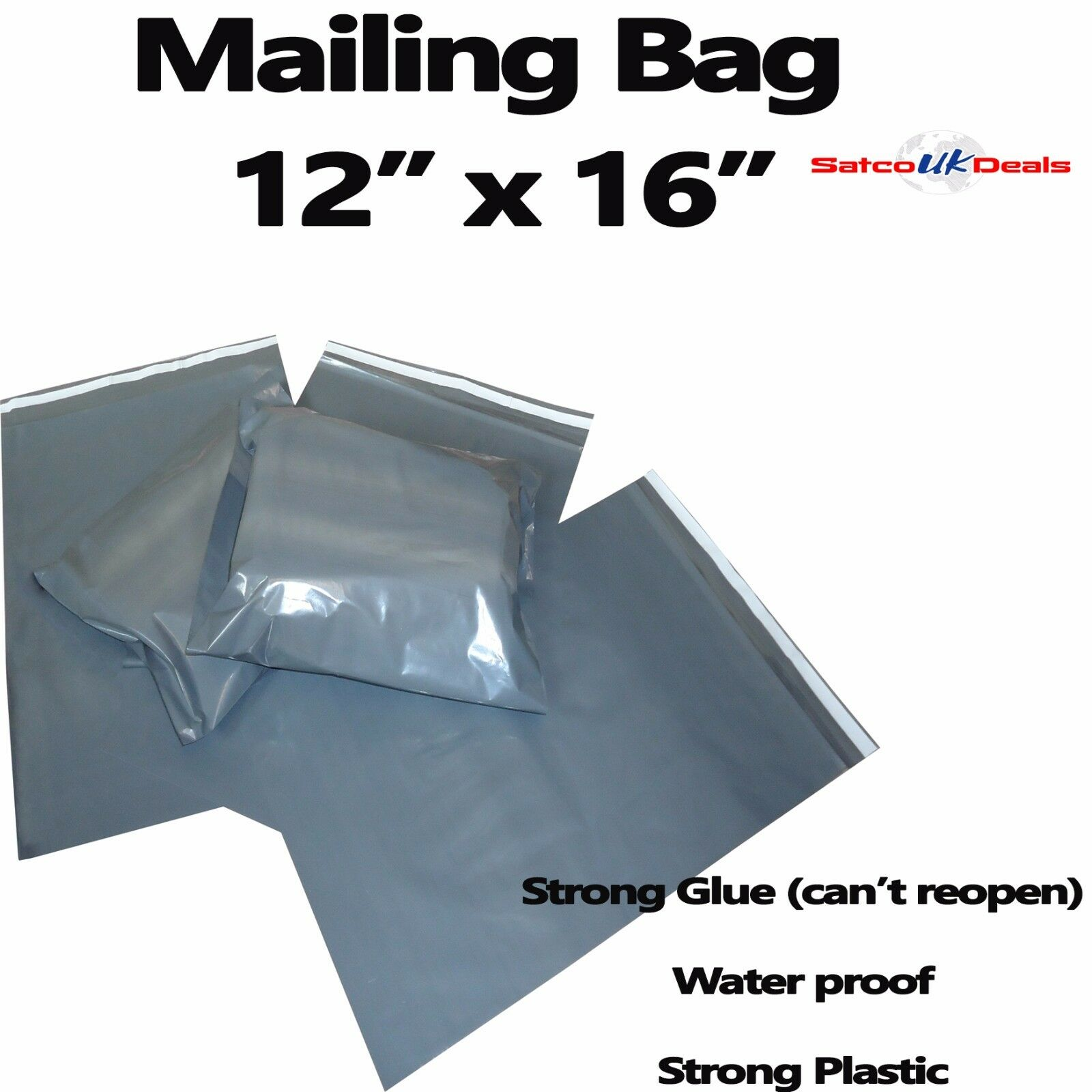"""50 12/"""" X 16/"""" Strong High Quality Grey Postage Mail Post poly bags Self Sealing"""