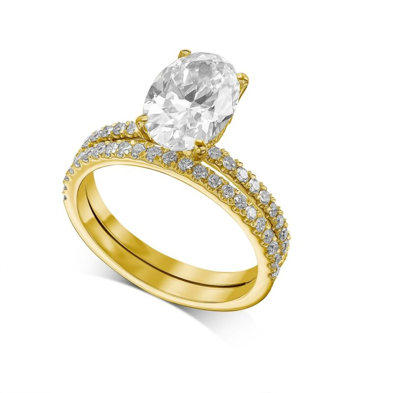 2.00 Ct Oval Cut Diamond Engagement Hidden Halo Ring & Band E Vs2 Yellow Gold