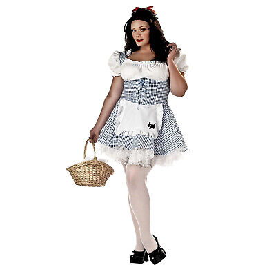 Women's Blue Checkered Gingham Dress Halloween Costume Dorothy Oz Plus 1XL 16/18](Dorothy Halloween)