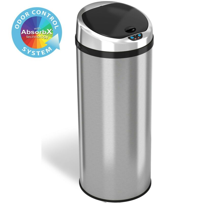 13 Gallon Round Stainless Steel Touch-free Automatic Sensor Trash Can Kitchen