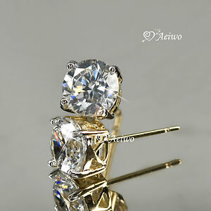 18K-YELLOW-WHITE-GOLD-GF-STUD-SWAROVSKI-CRYSTAL-EARRINGS-5MM