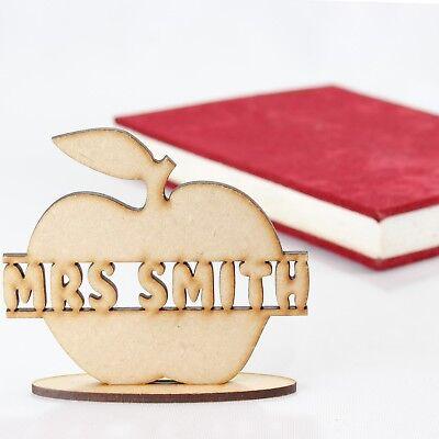 Personalised Wooden Best Teacher Gift Assistant Nursery Apple MDF Back To (Best Teacher Apples)