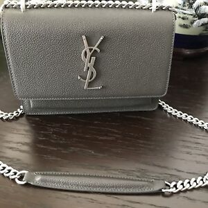 YSL Small Sunset Bag In Grey Leather