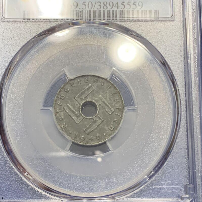 1940-A Germany Third Reich Military Issued 5 Pfennig PCGS AU50 - A103
