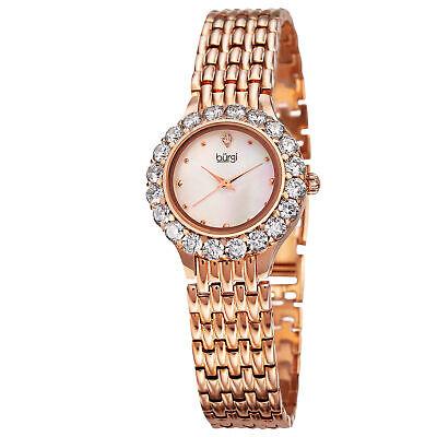 New Women's Burgi BUR107RG Swiss Quartz Mother Of Pearl Crystal Bezel Watch