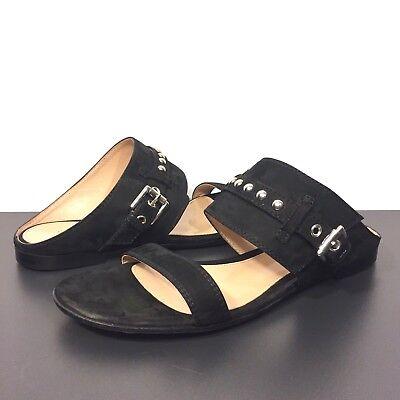 Buckle Mule Sandals (GIANVITO ROSSI Suede Buckle Stud Strap Flat Mule Sandals Black 35 (MSRP $695))
