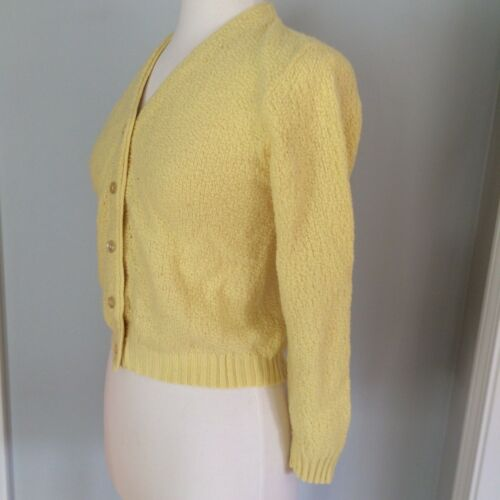 Vtg woman sweater cardigan yellow textured ACRILAN v neck button 60
