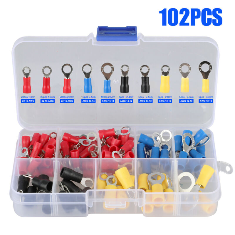 102Pcs Assorted Insulated Ring Crimp Terminal Electrical Wire Connector Kits+Box