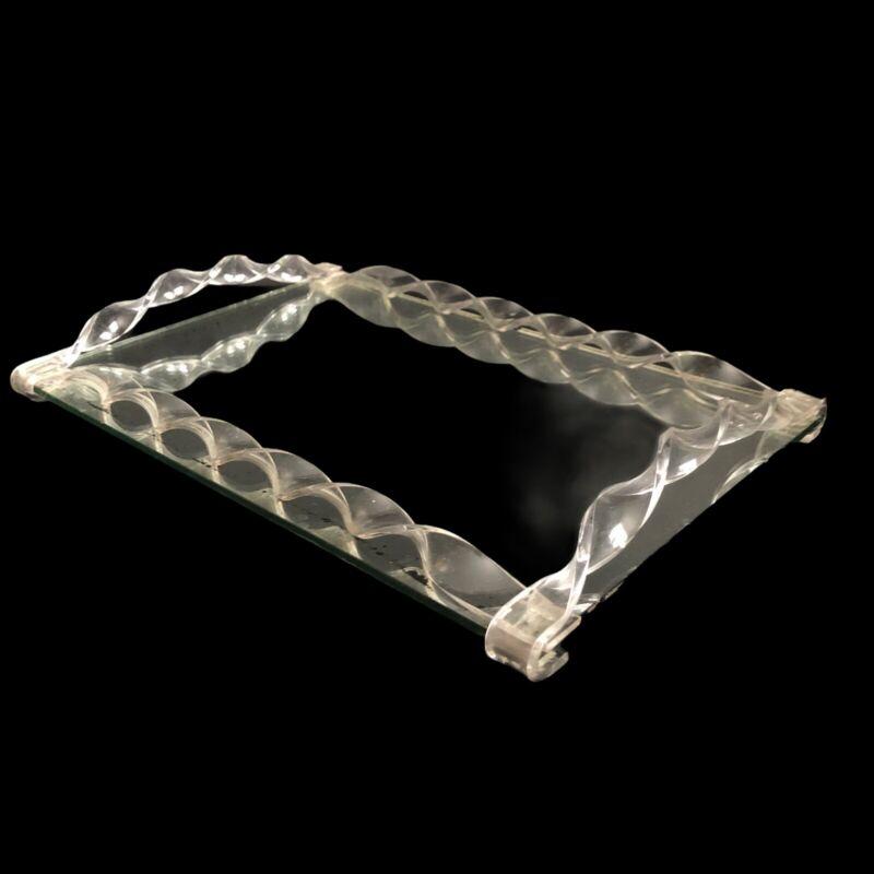 """Mirror Tray Vanity Lucite Twist Frame 14"""" VTG Mid Century Dresser Perfume"""