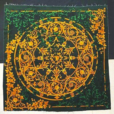 "ATELIER VERSACE green velvet fabric panel Barocco Medusa & Ivy print size 52"""