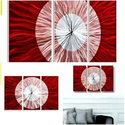 BEAUTIFUL RED*SILVER*BLACK CLOCK Metal Wall Art Abstract Modern Decor Jon Allen