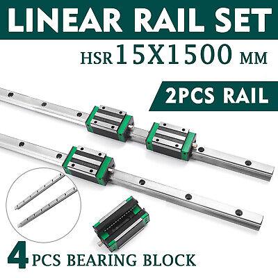 2pcs Sbr15-1500mm Linear Guideway Rail 4pcs Square Type Bearing Block For Cnc