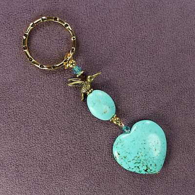 HUMMINGBIRD BLUE MAGNESITE KEY CHAIN Hammered Ring Gold Genuine Stones Crystals