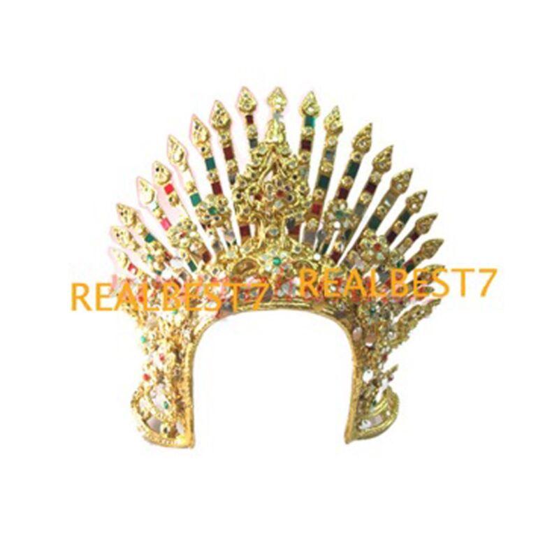 Queen Sriwichai Colorful Spiky Tiara Dancer Head Set Jeweled Beads + GL Costume